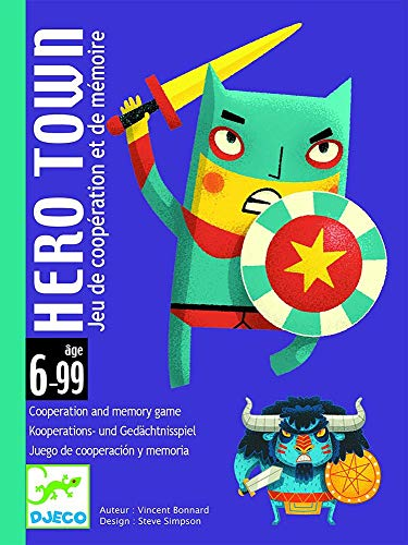 Djeco- Hero Town C Jeu de Cartes avec Superhéros et bougeoirs pour Enfants à partir de 6 Ans, Multicolore (DJ05143)