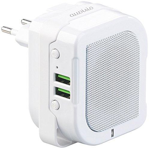 auvisio Steckdosenlautsprecher: 2in1-Steckdosen-Lautsprecher & Powerbank, Bluetooth, Freisprecher,6W (Wandnetzteil)
