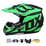 Casco Moto niño,Casco Motocross niño Moto Set con Gafas/Máscara/Guantes Casco Motocross (6unidades) Apto para Cuatro Estaciones (F, 53-54CM)