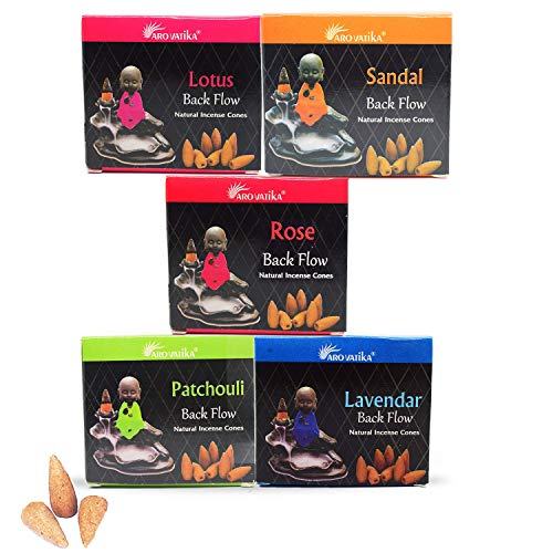 ARO VATIKA Natural Masala Backflow Assorted Incense Cones Combo 'A' of 5 Packets Consists Total 50 Cones (Nag Champa, Dragons Blood, White Sage, Palo Santo, Musk)