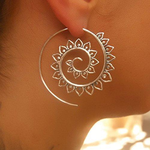 Silver Earrings - Silver Spiral Earrings - Tribal Earrings - Gypsy Earrings - Ethnic Earrings - Silver Jewelry - Statement Earrings - Long Earrings