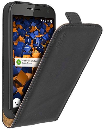 mumbi Echt Leder Flip Hülle kompatibel mit Motorola Moto G3 Hülle Leder Tasche Hülle Wallet, schwarz