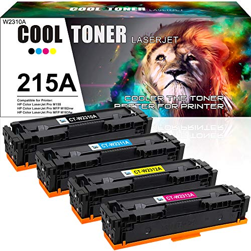 Cool Toner Compatible Toner Cartridge Replacement for HP 215A W2310A for MFP M183FW Toner HP Color Laserjet Pro MFP M183FW HP Color Laserjet Pro MFP M182NW Toner (Black Cyan Magenta Yellow, 4-Pack)