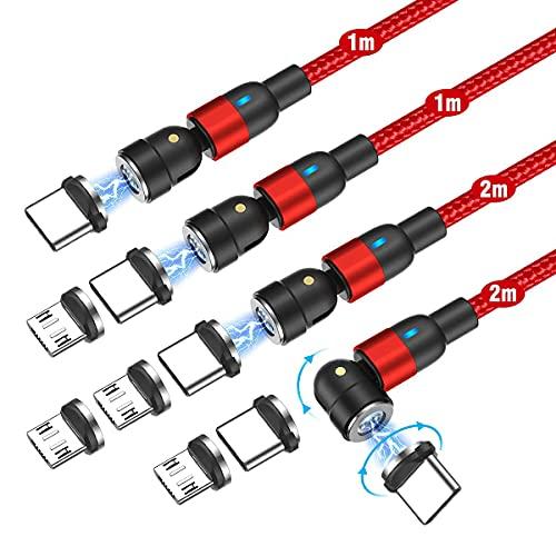 Melonboy Câble Magnétique Charge Rapide et Synchro Données [Lot de 4, 1 m + 1 m + 2 m + 2 m] 3A Câble de Chargeur Magnétique Power 540° USB C Câble pour Huawei P40 Xiaomi MIX3-rouge