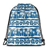 LREFON Gym sacs à cordon sac à dos sac à dos de plage tropicale fourre-tout pour le stockage de sport organisateur de chaussures basket-ball Shopping enfants