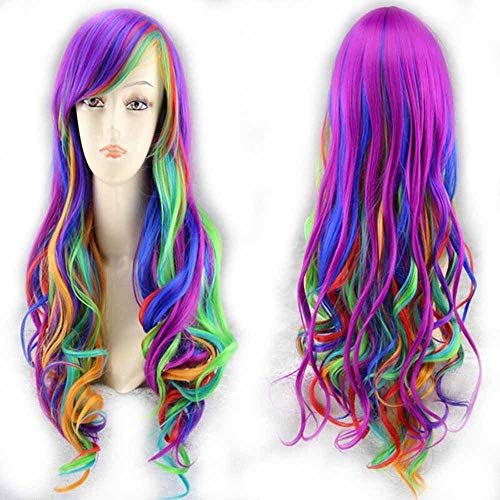 Lang Kleur haarstukje Cosplay Costume haarstukken Rainbow Pruik Pieces for vrouwen en kinderen met gratis pruik cap 26 inch
