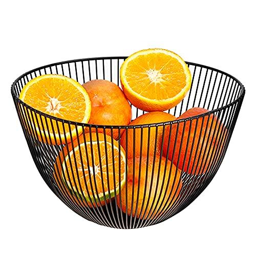 Kupink Obstschale Metall Schwarz 25.5cm Brotkorb Rund Schwarz Obstkorb Openwork für Küchentheke, Schrank und Speisekammer für Obst Gemüse Snack