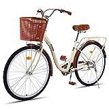 Dbtxwd Frauen Retro-Fahrrad, 26-Zoll Dame Schritt durch Urban Bike 7-Gang, mit Basket Herren Frauen...
