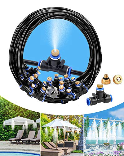 """deepee Misting Cooling System with 9m Misting Line, 11 Copper Metal Mist Nozzles and a Connector(3/4""""), for Patio Garden Greenhouse Trampoline, waterpark"""