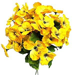 Silk Flower Arrangements Htmeing 17 Inch Artificial Pansy Flowers Home Office Wedding Decoration (Yellow)
