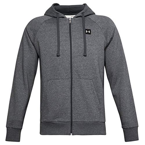 Under Armour Herren Rival Fleece Hoodie mit durchgehendem Zip Sportliche Kapuzenjacke Mit Loser Passform, Bequeme Und Warme Fleecejacke Für Männer, Pitch Gray Light Heather/Onyx White (012), XS