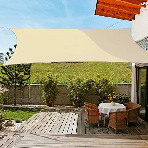 OldPAPA Sonnensegel Rechteckig Sonnenschutz Block 95% UV Wasserdicht Garten Balkon Schwimmbad Leichtgewicht Überdachung mit Freiem Seil Sahne 3x4m