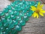 World Wide Gems Cuentas de piedra preciosa verde ónix cuentas facetadas Puff monedas 11-12mm 6 1/4 'Strand Code-HIGH-69185
