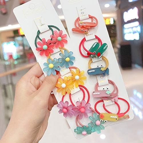 GJNBF 3/6/10 / Sets Mädchen niedlichen Cartoon Tiere Frucht elastischen Haarbänder Pferdeschwanz Tousheng Kinderhaarschmuck Band (Color : Crocodile-20 Pcs)