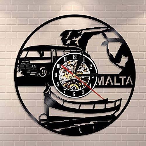 BFMBCHDJ Republik Malta Wanduhr Vintage Vinyl Schallplatte Wanduhr European Country Tourism Reisegeschenk Souvenir Repubblika TA 'Malta