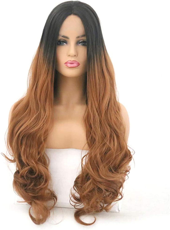 YARUMD 16 Inch Wigs Women Gradient Black Long Curly Wigs,fiber Lace Front Brazilian Wave Hair Wigs Heat Resistant Sexy Hair Style 200% Density for Women Party Wigs