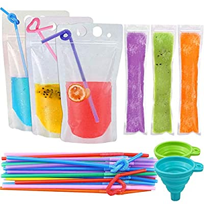 SelfTek 120Pcs Juice Pouches for Drinks with St...