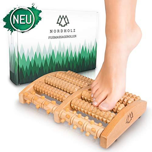 Hochwertiger Fußroller zur Stressreduzierung und Entspannung durch Triggerpunkt-Therapie - Fußmassage perfekt für Zuhause & Büro - Fußmassageroller Holz zur Vorbeugung & Linderung von Schmerze