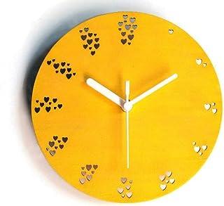 28cm Piccolo orologio da parete in legno tondo silenzioso con numeri fatti a cuori colorato come giallo Particolari orolog...