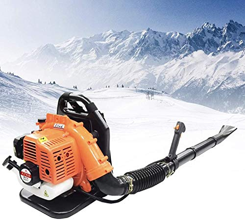 Photno 2 Stroke Gas 63cc Backpack Blower Backpackable Snow-Blowing Blower Commercial Back Pack Leaf Blower 3hp High Performance Gas Powered Perfect for Lawn Care & Dust Snow Removal (Orange)