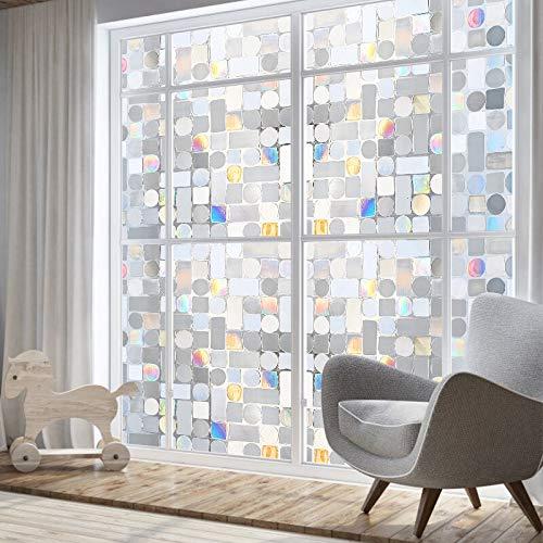 LMKJ Película para Ventanas con patrón Cuadrado y Redondo, Ajuste estático, extraíble, Multi-Opaca, para Oficina en casa, película A82 50x200cm