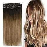 YoungSee 14 Pouces Extension a Clips Cheveux Naturel Full Head Brun Foncé #2 Ombre Brun Moyen #6 avec Blond Caramel #27 Balayage Clip Extension Lisse Remy Hair 7pcs/120g