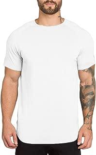 Mens Muscle T Shirts Short Sleeve Hipster Hip Hop Longline T-Shirt Cotton Curved Hem Top Tees Shirt