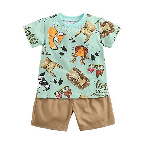 Sanlutoz Baumwolle Baby Junge Kleidung Sets Sommer Karikatur Neugeborene T-Shirt+Kurze Hose (6-12 Monate / 73cm, BCS9046)