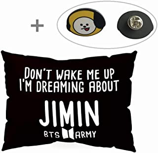 Hosston BTS Pillowcase Kpop Bangtan Boys 50 x 30 cm Soft Velvet Throw Pillow Case with One BTS Cute Brooch Pin Badge Free Best Gift for A.R.M.Y(Style 01-Jimin)
