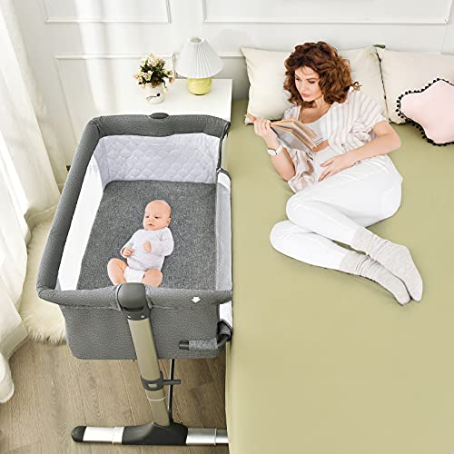 Baby JOY Baby Bedside Crib,Portable Travel Sleeper Bed