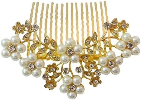 Vogue Hair Accessories Golden And White Pearl Comb Hair Clip For Women …