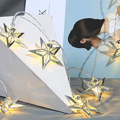 Mortimer - Guirnalda de luces para interior (funciona con pilas, 10 estrellas, 150 cm), color blanco cálido