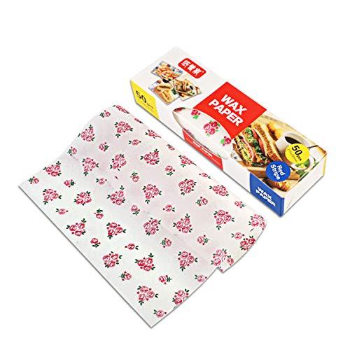 50 Blatt Wachspapier Pergamentpapier Wasserdichtes Lebensmittelverpackungsgewebe für Brot / Sandwich / Burger / Pommes (Blume)