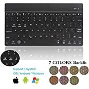 Tastiera Bluetooth retroilluminata, Dingrich, tastiera universale ultraslim wireless Bluetooth 3.0, retroilluminata a 7 colori, luminosità regolabile, leggera, portatile, tablet, iPad, tastiera per iOS, Android, Windows, Apple iPad pro9.7/12.9, iPad Air, iPad Mini Samsung Galaxy Tab A 9.7, tablet PC, portatile, notebook, computer