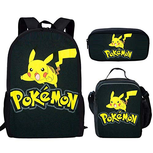Aulaygo 3 Pieces Set School Bookbag Pikachu Adorable Pattern Children School Backpack with Thermal Lunch Box Pencil Pen Pouch for Teen Boys Girls Fashion Daypack