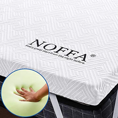 NOFFA - Coprimaterasso per letto Matrimoniale King Size in Memory Foam, Con Cinghie Elastiche e Rivestimento Rimovibile, CertiPUR-EU (180 x 200 x 5 cm)