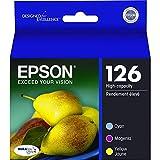 Epson T127520 (127) DURABrite Ultra XHY Ink Cartridges (Cyan,Magenta,Yellow) 3/PK in Retail Packaging