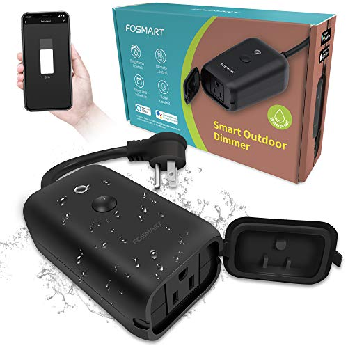 Smart Dimmer Plug, Fosmart Outdoor Smart Plug Works with Alexa and Google Home, Smart WiFi Plug-in Dimmer Switch for LED String Light, Wireless Remote Control, Max Power 350W, IP44 Waterproof/Timer