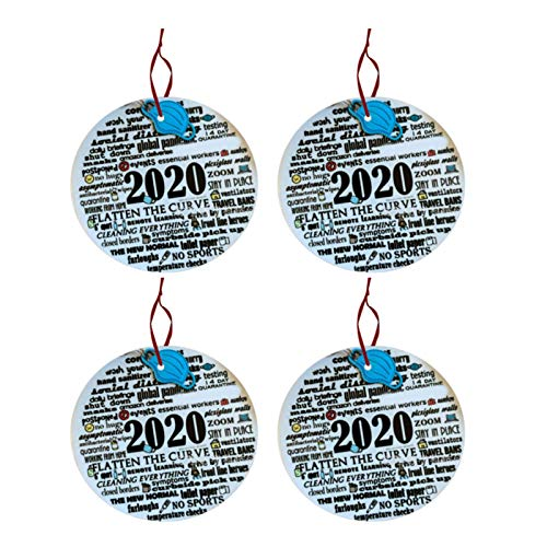 2020 Annual Events Christmas Ornament Remembering Silver Linings Unique Quarantine Xmas Hanging Ornament for Christmas Tree Decorations Ornament Kit Keepsake Gift (A,4PC)