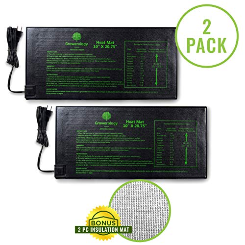 Growerology Seedling Heat Mat 2 Pack: 10quot x 2075quot for Seed Germination Hydroponics and Plant Propagation  MET Certified Plant Heating Pad for Indoor and Outdoor Home Gardening Seed Starter Kit