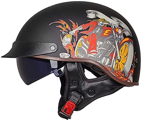MRDAER Casco de Motocicleta de Medio Casco Aprobado por ECE Casco de Motocicleta de Cara Abierta con Visera Solar incorporada Gorra de Motocicleta Retro para ciclomotor de Choque Scooter Cruiser pa