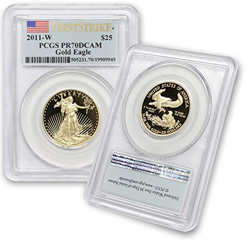 2011 W 1/2 oz Gold American Eagle PR-70 Deep Cameo (First Strike – Flag Lable) by CoinFolio $25 PR70DCAM PCGS