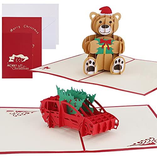 Cartolina di Natale 3D 2 Pezzi Pop Up Babbo Natale Albero di Natale Design Biglietti di auguri di Natale Biglietto di auguri di Natale Biglietto regalo