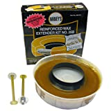 LASCO Toilet Bowl Extra Thick Wax Ring with Brass Bolts Reinforced Urethane Core and Polyethylene Flange