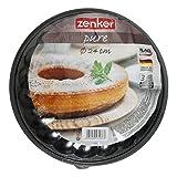 Zenker Molde Desmontable 2 Fondos 24cm. Pure, Acero con Revestimiento Antiadherente ILAG, Negro, 24