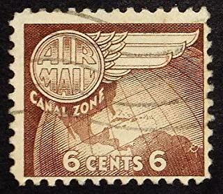Air Mail Wing, Canal Zone Postage -Handmade Framed Postage Stamp Art 22029AM