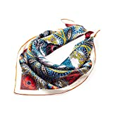 Pure Silk Scarf for Hair 100% Mulberry Real Silk Scarf Small Square Luxury Fashion Vintage With Gift Packed (21x21-25g)