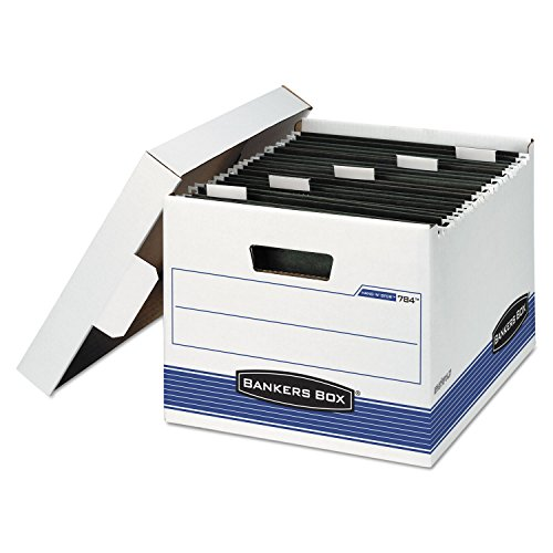 Bankers Box® - Hang 'N' Stor Storage Box, Letter, Lift-off Lid, White/Blue, 4/Carton - Sold As 1 Carton - Lets you transfer hanging files from active to inactive storage without removing records from the hanging folders—you save time!