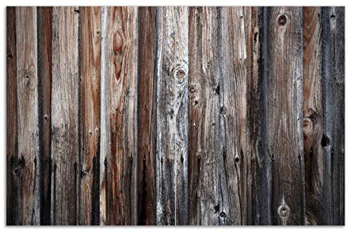 Wallario Herdabdeckplatte/Spritzschutz aus Glas, 2-teilig, 80x52cm, für Ceran- und Induktionsherde, Motiv Alte Holzwand - Holzplanken in grau und braun