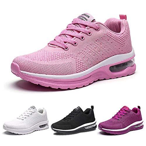 Kinghealth Damen Laufschuhe Sportschuhe mit Luftpolster Turnschuhe Profilsohle Sneakers Leichte Schuhe (Rosa EU41)